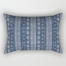 Mudcloth Inspired Navy Blue Small Scale Pattern Rectangular Pillow