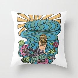 Seated Curvy Tail Mermaid Throw Pillow