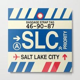SLC Salt Lake City • Airport Code and Vintage Baggage Tag Design Metal Print