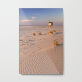 Refuge hut on Terschelling island in The Netherlands at sunset Metal Print