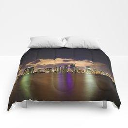 Downtown Miami Night Comforters