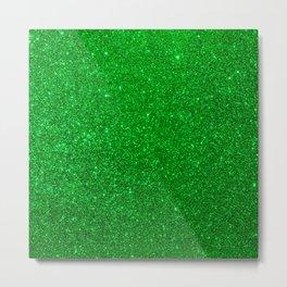 Emerald Green Shiny Metallic Glitter Metal Print