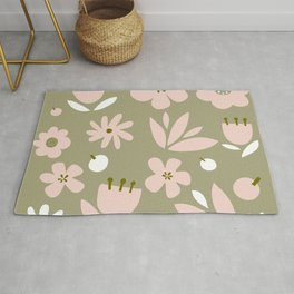 Cute Modern Floral Pattern Design - Retro Colour Print Rug