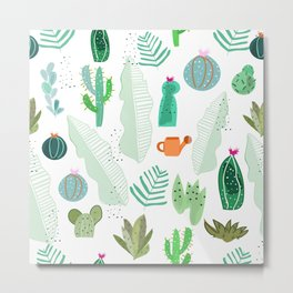 Cactus and flowers tropical pattern Metal Print