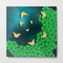 clover and butterflies Metal Print