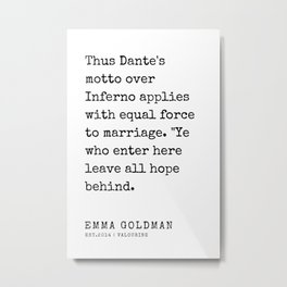 32   Emma Goldman Quotes   200607   The Great Feminist Metal Print