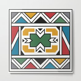 African Tribal Pattern No. 166 Metal Print