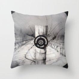Cabernet - black and white wine photo vineyard Throw Pillow
