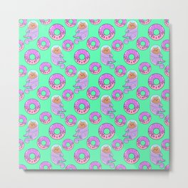 Cute sweet adorable Kawaii cats, funny pink yummy donuts with sprinkles teal green pattern design. Space suits and astronauts. Metal Print