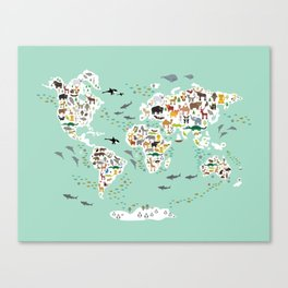 Cartoon animal world map for children, kids, Animals from all over the world, back to school, mint Canvas Print