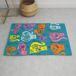 Cat Nap - Colorful floral Cats Rug