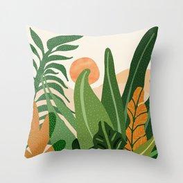 Desert Garden Sunset Throw Pillow