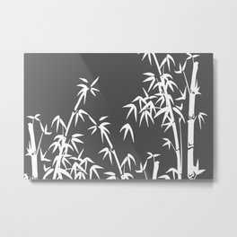 White Bamboo grey background Metal Print