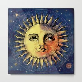 Celestial Antique Sun And Sky Watercolor Batik Metal Print