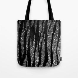 Black and Silver Glitter Zebra Stripes Tote Bag