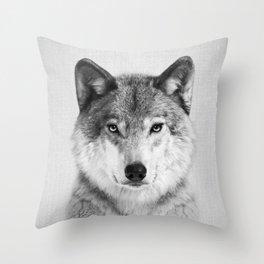 Wolf 2 - Black & White Throw Pillow