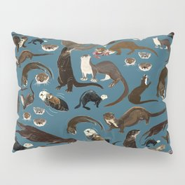 Otters of the World pattern in teal Pillow Sham