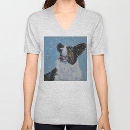 The Cardigan Welsh Corgi dog art portrait from an original painting by L.A.Shepard Unisex V-Neck