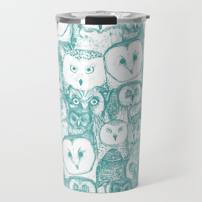 just owls teal blue Travel Mug