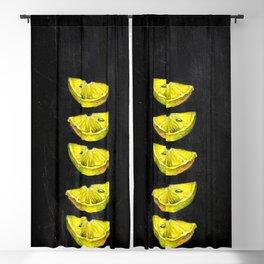 Lemon Slices Black Blackout Curtain