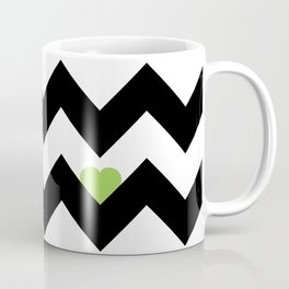 Heart & Chevron - Black/Green Coffee Mug