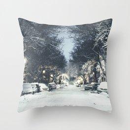 Montreal Snowy winter street Throw Pillow