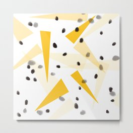 Yellow triangle and black dots Metal Print