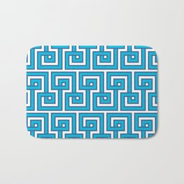 Greek Key - Turquoise Bath Mat