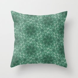 Watery Green Blue Flowers Throw Pillow