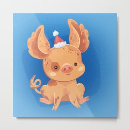 Festive Pig in a New Year's Cap Metal Print