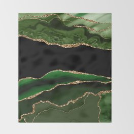 Emerald Marble Glamour Landscapes Throw Blanket