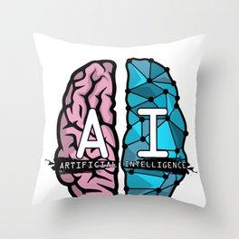 AI Nerd design - Artificial Intelligence Brain graphic Throw Pillow