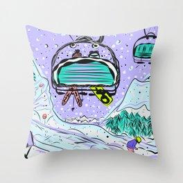 Winter snow alpine wonderland illustration Throw Pillow