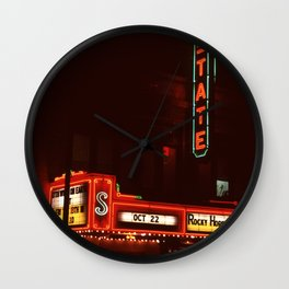 Night Lights State Street Theater, Ithaca NY Wall Clock