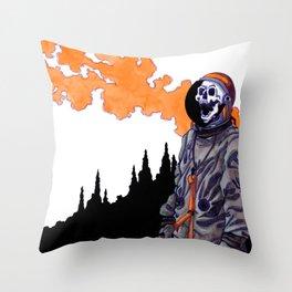 Silent Scream - Orange Throw Pillow
