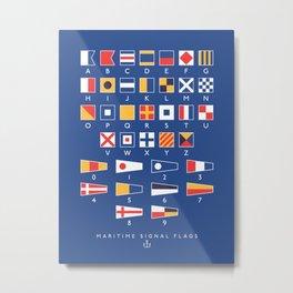 Maritime Nautical Signal Flags Chart - Navy Metal Print