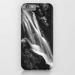 Black and white waterfall in Hell Gorge, Slovenia iPhone Case