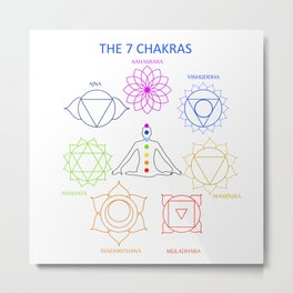 The seven chakras of the human body with their names Metal Print