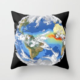 Satellite Image of Earth's Interrelated Systems and Climate Throw Pillow