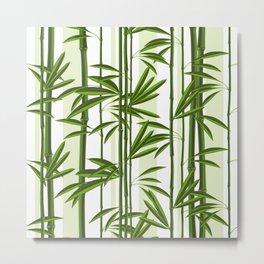 Green bamboo tree shoots pattern Metal Print