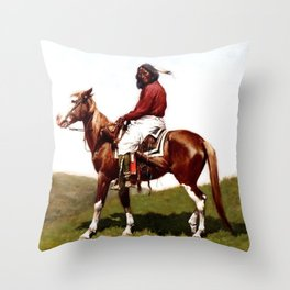 "Western Art ""Comanche Brave"" by Frederic Remington Throw Pillow"