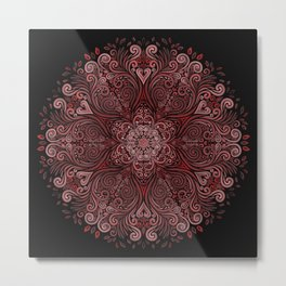 Red Ornate Pattern with 3D effect Metal Print