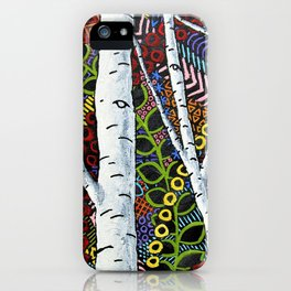 Sunset Sherbert Birch Forest (ORIGINAL ACRYLIC PAINTING) by Mike Kraus - art valentines day girl iPhone Case