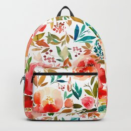 Red Turquoise Teal Floral Watercolor Backpack