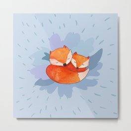 Sleeping foxes at night Metal Print