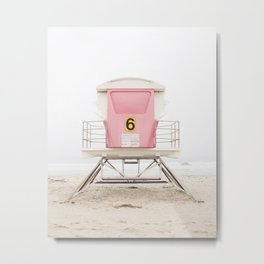 California Beach Print, Pink Tower 6 Metal Print