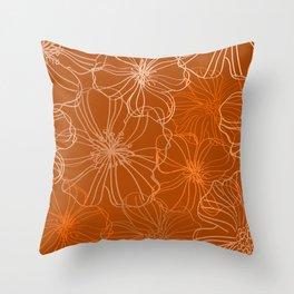 Line Art, Floral Prints, Terracotta, Minimalist Art Throw Pillow