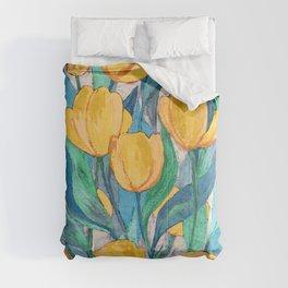 Blooming Golden Tulips in Gouache Comforters