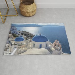 Santorini island in Greece Rug