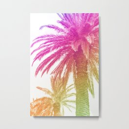Pink and Green Palm Tree Metal Print